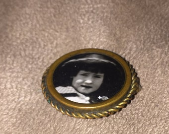 Antique Victorian Brass Mourning Pin with Photo
