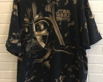 Vintage 1997 Star Wars Special Edition Darth Vader Bleach Dye T-Shirts Liquid Blue XL