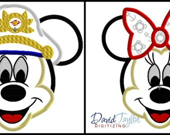 Sailor Mickey and Minnie Face - 2 Design Pack - 4x4, 5x7 6x10, 8x8 in 9 formats - Applique - Instant Download - David Taylor Digitizing