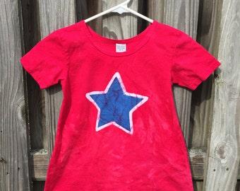 Patriotic Girls Dress, Girls Patriotic Dress, Red Star Dress, Red White and Blue Dress, Girls Fourth of July Dress, July 4th Dress (4T)