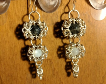 Sterling silver Romanov weave earrings with smokey quartz and moonstone