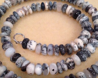 Merlinite Dendritic Opal Rondelle 7mm Bead Necklace With Sterling Silver Clasp for Magic, Psychic & Intuition healing