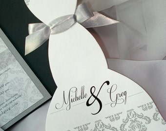 ALL DRESSED UP Dress and Tux Wedding Invitation Sets - Mermaid - Sample