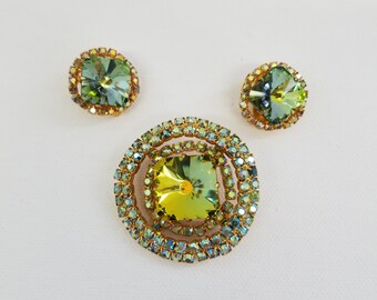 Aurora Borealis Rhinestone Brooch and Earring Set - Vintage  #39