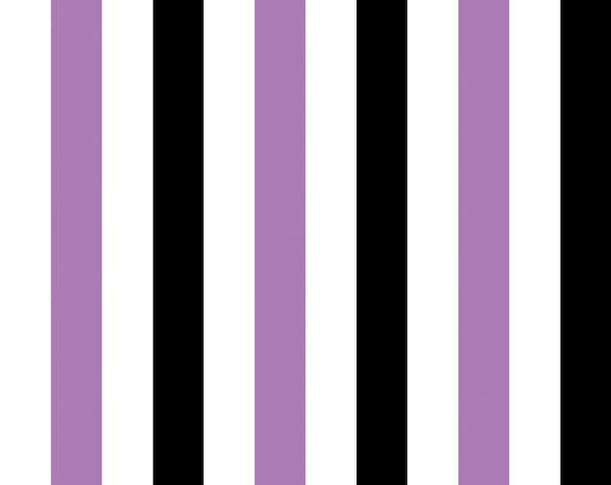 Gallery Stripe Fabric by Ellen Medlock - 1 Yard Lavender Purple, Black, White One Inch Stripe Quilting Sewing Cotton Fabric (#909A)