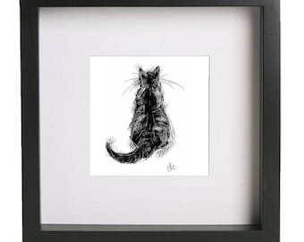 Framed cat print // cat print // black cat print // cat art // cat lover gift // black cat drawing // cat gifts // cat painting // cat decor