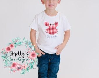 Boys Beach Shirt-- Boys Crab T shirt -- Baby Boys Beach Shirt -- Vacation shirt -- Boys Crab Shirt