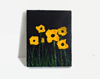 """Yellow Poppies - Original Acrylic Painting - 8X10"""" - Landscape Painting - Small Modern Art - Abstract Art - Abstract Poppies - Textured Art"""