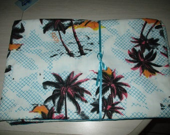 set of 4 p lacemats with palm trees with light blue background reversible