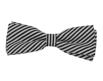 Black striped bow tie, black bow tie,   Kids bow tie,  Baby Boys bow tie, pre-tied bowtie