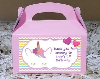 SALE! 12+ Labels Or Boxes & Labels 12 Unicorn Treat Boxes, Unicorn Gable Boxes, Unicorn Candy Boxes, Unicorn Party Boxes