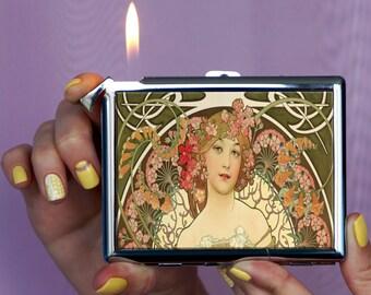 Alphonse Mucha Аrt nouveau Cigarette case, art deco cigarette case, retro, lighter, vintage cigarette case, vintage, metal cigarette case