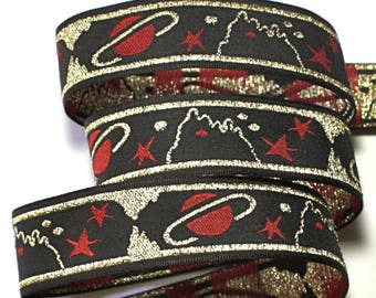 "Planet Ribbon - 7/8"" Black, Gold and Red Woven Jacquard Ribbon -"