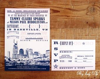 100 Nashville Wedding Invitations - city skyline - Destination Wedding Invitations  - Pink and Navy Blue - By My Lady Dye