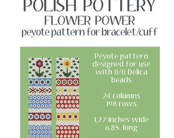 Polish Pottery Peyote Pattern Bracelet or Wall Hanging