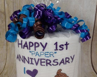 Paper Anniversary - First Anniversary for him or her - Persoanlized - Custom made Embroidered 1st Anniversary Toilet paper - funny gift