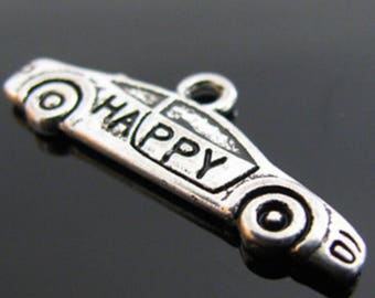 "Charm pendant car word ""happy"" 26x10mm"