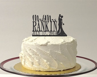 MADE In USA, Custom Wedding Cake Topper with Bride and Groom Silhouette Personalized Mr and Mrs Topper YOUR Last Name + Date Custom Topper