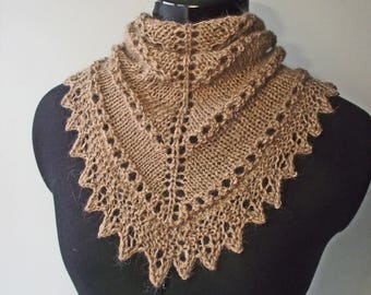Fawn Neckwarmer Scarf Bandana or Kerchief Cowl, Knitted from Artisan Handspun Alpaca, Merino & Silk