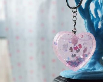 Pastel Pink Heart Shaker Charm with Unicorn Holographic Film