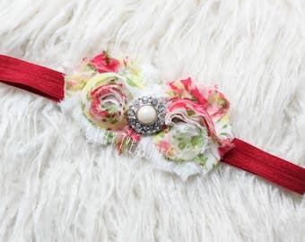 Baby Flower Headband. Floral Headband. Baby Flower Headband. Coral Headband. Newborn Headband. Adult Headband. Girl Headband. Photo Prop.