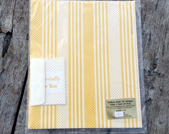 Vintage Gift Wrap All Occasion Yellow Dots N Stripes SEALED Sheets AND Cards Yellow Wrapping Paper 1980 Current Inc