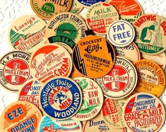 Vintage Milk Caps. Old Milk Caps. Bottle Cap. Dairy Bottle Cap. Bottle Top. Milk Bottle. Vintage Ephemera. Planner Accessories. Junk Journal