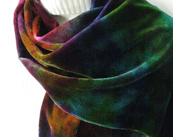Northern Lights -Hand Dyed Velvet Scarf  Womens Fashion Multicolor Scarf Winter Accessories Silk Scarf Holiday Gift for her mom girlfriend