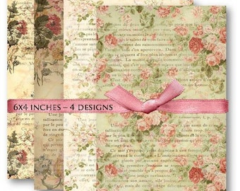 Floral French Ephemera - Digital Collage Sheet Download -454- Digital Paper - Instant Download Printables