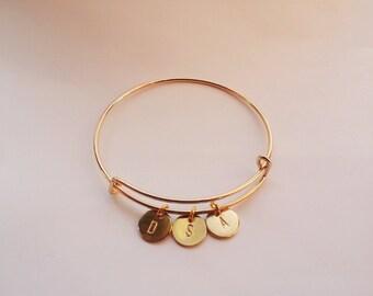 Hand stamped initials cuff bracelet, gold adjustable bracelet, personalized gift ,custom bracelet, Bracelet,initials bracelet,initials