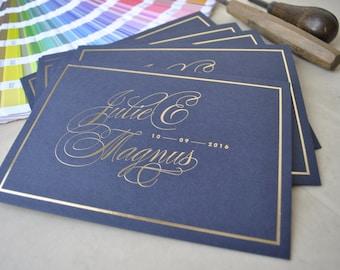 Custom hot foil wedding invitations; gold hot foil invitations, silver foil invitations, copper foil invitations, RSVPs, envelopes