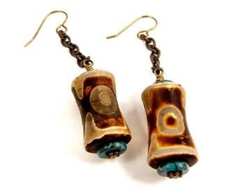 Tibetan Agate Long Dangle Earrings, Earthy Bohemian Jewelry