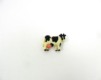 """Cows Resin Off White 1 1/8"""" W x 7/8"""" H x 1/4"""" Thick Hair Bow Resins Flat Back - 8 Pieces"""