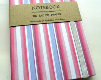 Handmade notebook - pink purple candy stripe - 200 ruled pages with elastic A6