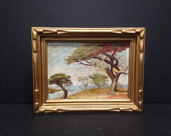 """Trees Scenery Landscape Painting by Allain.  Frame is 8.5 x 6.75"""""""