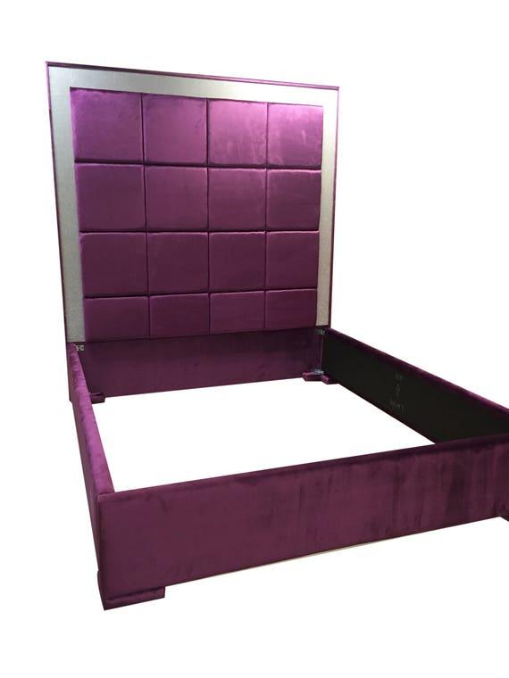 purple velvet bed extra tall headboard purple velvet king size. Black Bedroom Furniture Sets. Home Design Ideas
