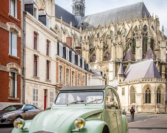 Vintage car in Amiens, Falling Off Bicycles fine art France photography, cathedral image, mint wall decor