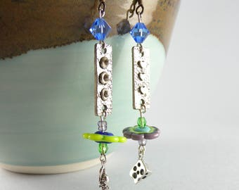 Whimsical Mouse and Swiss Cheese Handmade Sterling Silver Swarovski Lampwork Metalwork Earrings