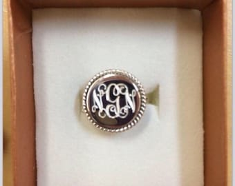 Two Rings 925 Sterling Silver Nautical Rope Monogrammed Round Ring  2 Rings