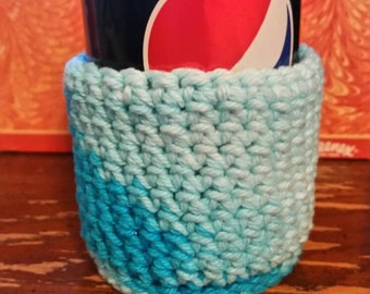 RTS- Crocheted Drink Can Cozy and Coaster in One Soft Drink Cozy Soda pop cozy Drink can sleeve Soft Drink Can cozy Water bottle Cold drinks