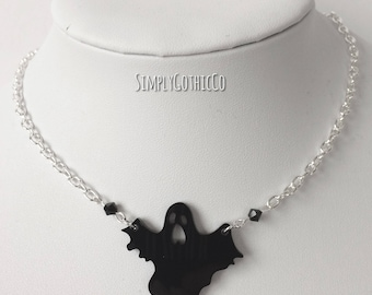 Gothic Shadowed Ghost Necklace
