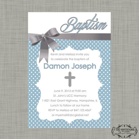 Items similar to Boy Baptism Invitation Christening Digital File
