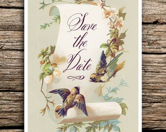 Vintage Birds Save the Date Cards // Bird Themed Wedding Invitations Calligraphy Save the Dates Envelopes Sage Green Rustic Love Birds