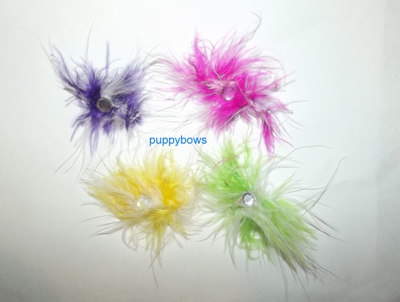 Puppy Bows ~ 4 assorted colors feather pet hair grooming bow ~USA seller