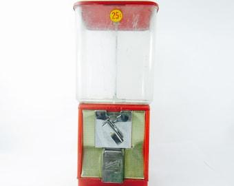 Gumball Machine, Red Gumball machine,candy machine,northwestern,metal machine,vending machine,vintage decor, man cave, game room,