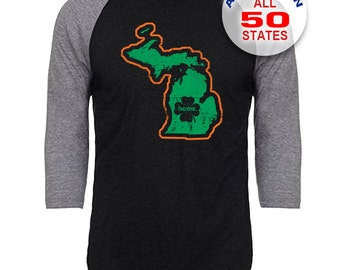 Michigan Home State Irish Shamrock - Unisex Tri-Blend 3/4 Sleeve Raglan Baseball T-Shirt - Sizes S-3XL