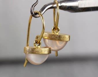 rose quartz 18k gold drop earrings