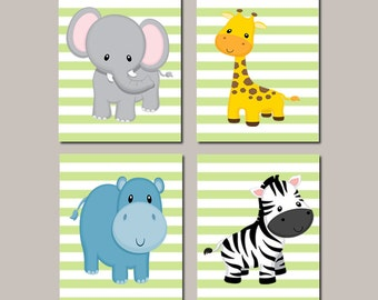 Jungle Animals Nursery Wall Art, Prints Or Canvas, Zoo Animals, Safari Animals, Baby Animals, Elephant Giraffe Hippo Zebra, Set of 4