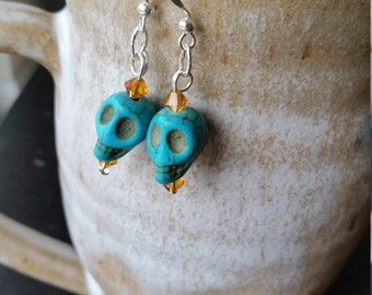 Turquoise Sugar Skull Earrings w/ Swarovskis
