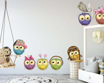 Removable Vinyl Wall Decal for Kids Room & Nursery Kids Wall Art Peel and Stick Cute Owls Set of 7